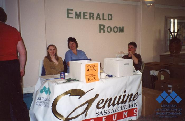 Tammy Davey, Brenda Herman and Wendy Fitch at registration table in 2003