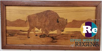 Bison marquetry panel