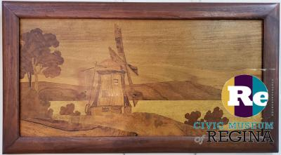 Wind Mill marquetry panel