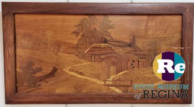 Grist Mill marquetry panel