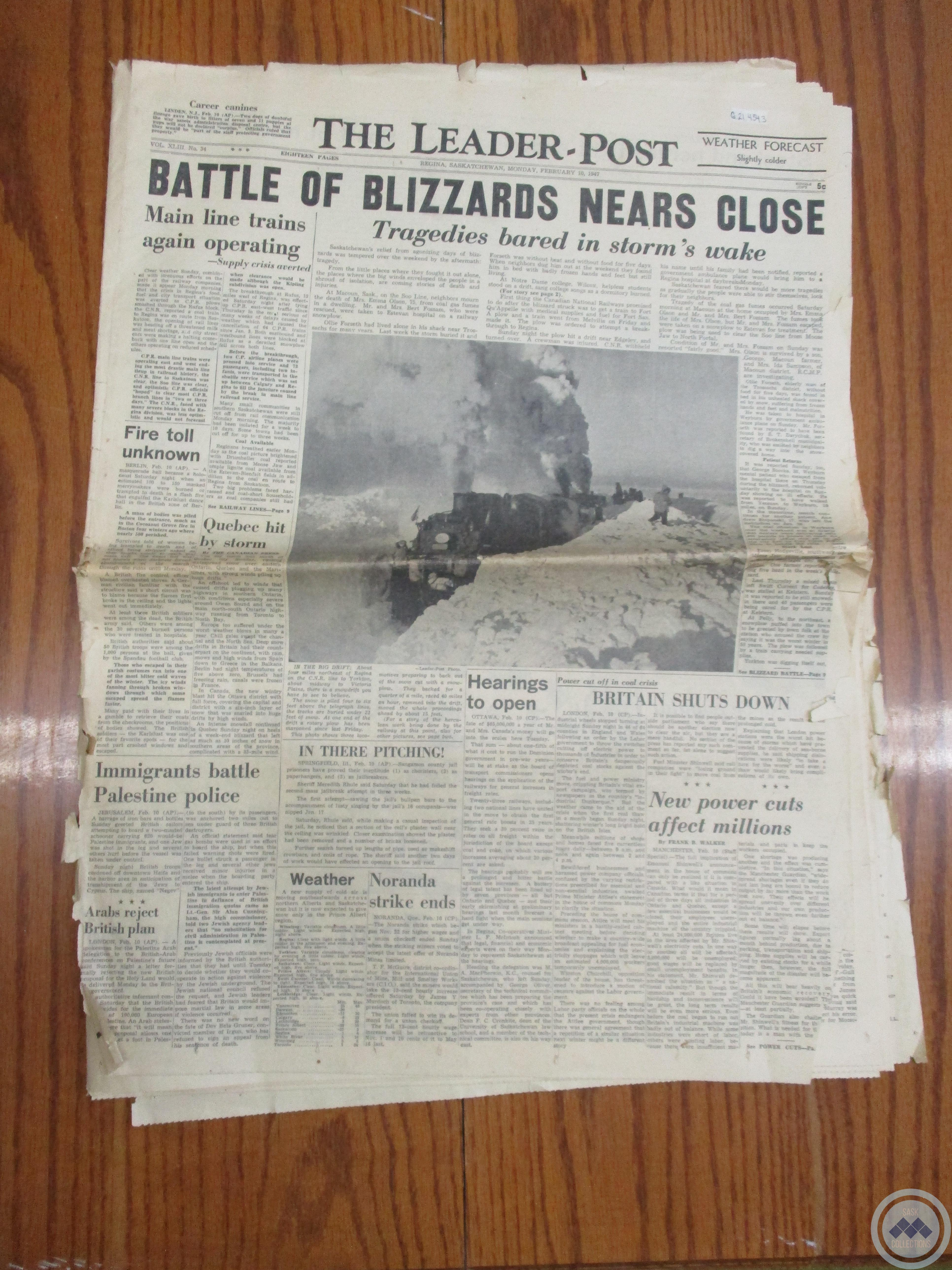 """The Leader-Post: """"Battle of Blizzards Near Close"""""""