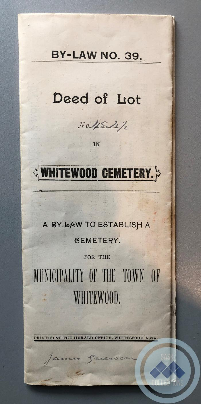 Cemetery Land Deed