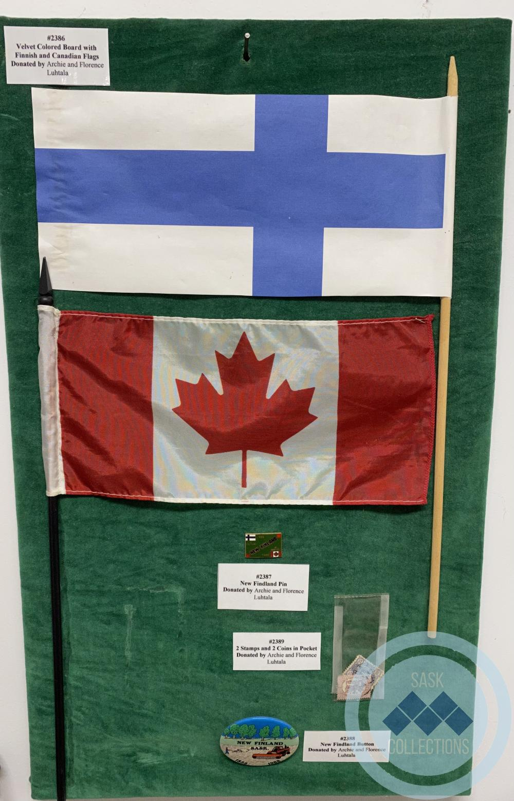 Velvet Colored Board with Finnish and Canadian Flags