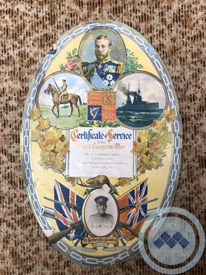 Certificate of Service - Private W.H. Stoddart 104546 - 68th Battalion CEF